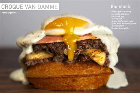The Croque Van Damme Burger has Fried Duck Egg and Beef