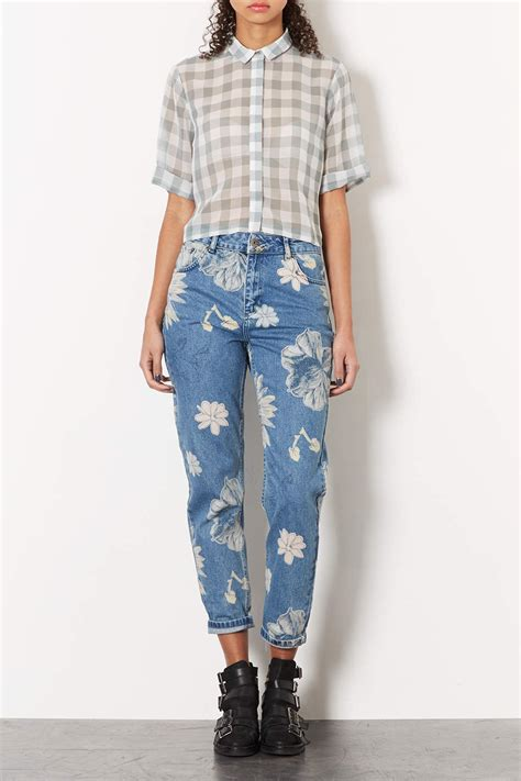 TOPSHOP Moto Floral Print Mom Jeans in Mid Stone (Gray) - Lyst