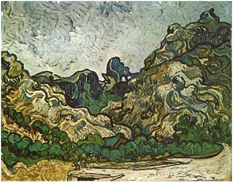 Mountains at Saint-Rémy with Dark Cottage by Vincent Van