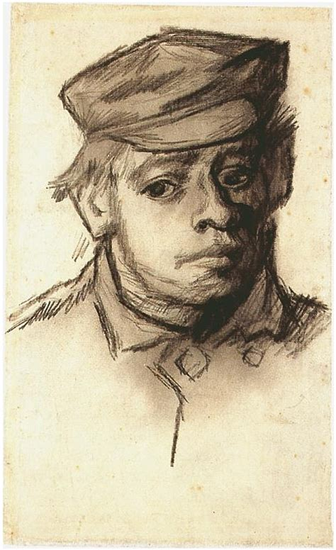 Head of a Young Man by Vincent Van Gogh - 1050 - Drawing