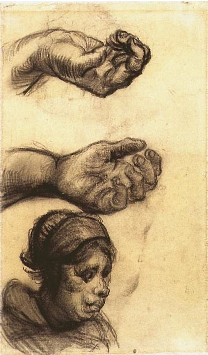 Two Hands and a Womans Head by Vincent Van Gogh - 1650