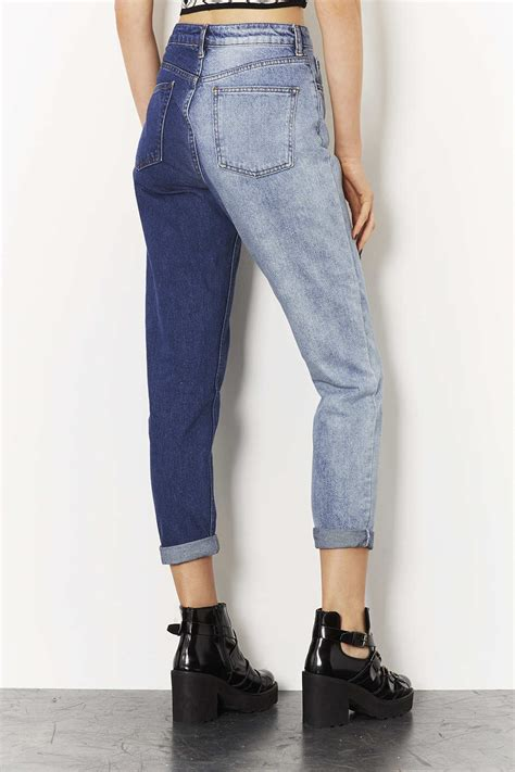 Topshop Moto Two Tone Mom Jeans in Blue | Lyst