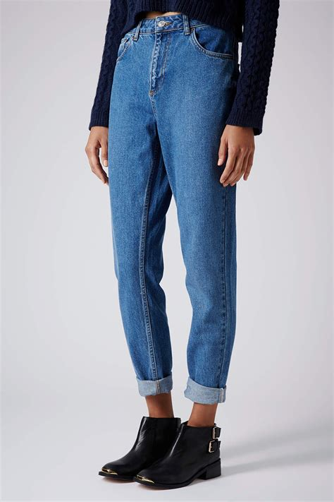 Topshop Moto Vintage Wash Mom Jeans in Blue (MID STONE) | Lyst