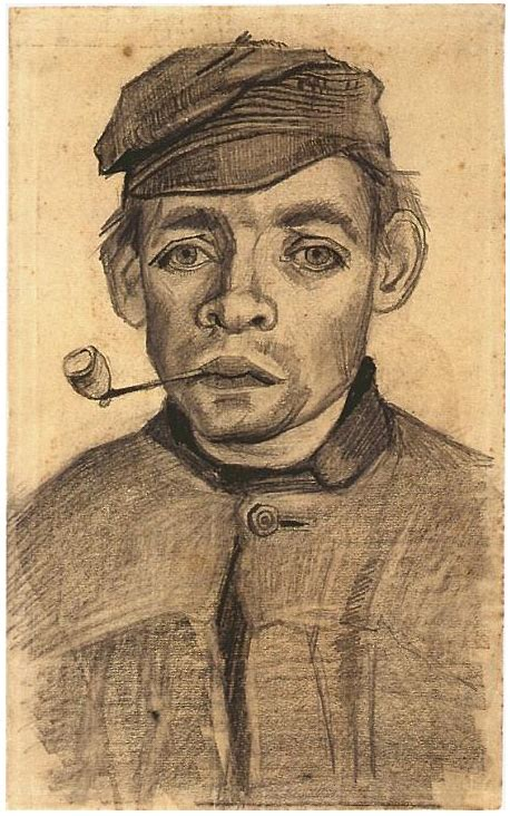 Head of a Young Man with a Pipe by Vincent Van Gogh - 1054